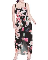 City Chic - Wonderland Floral Maxi Dress - Lyst