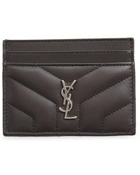 Saint Laurent - Loulou Monogram Quilted Leather Credit Card Case - Lyst
