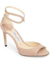 1d4cd9ddb118 Jimmy Choo Dida Suede T-Strap Sandal in Natural - Lyst