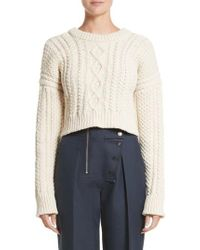 CALVIN KLEIN 205W39NYC - Back Strap Cable Knit Crop Sweater - Lyst