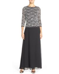 Alex Evenings - Lace And Sequin-bodice Column Dress - Lyst