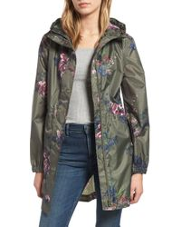 Joules - Right As Rain Packable Print Hooded Raincoat, Green - Lyst
