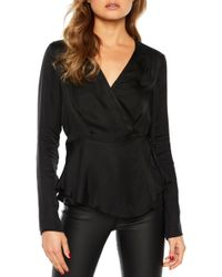 c7eb7af687689 Lyst - Bardot Crossover High low Tunic Top in Black