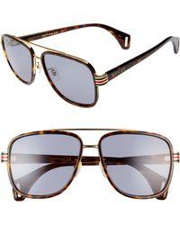 8539882552e Gucci - 58mm Aviator Sunglasses - Dark Havana  Grey - Lyst