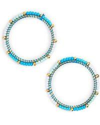 Rebecca Minkoff | Beaded Hoop Earrings | Lyst