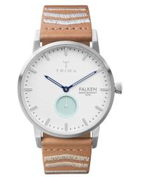 Triwa - Wave Falken Embroidered Leather Strap Watch - Lyst
