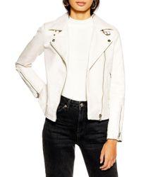TOPSHOP - Lucky Faux Leather Biker Jacket - Lyst