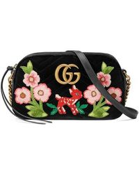 91255c02e97f Lyst - Gucci Pre Owned Gg Marmont Flap Bag Embroidered Matelasse ...