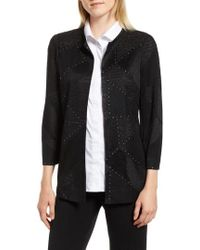 Ming Wang - Studded Shimmer Knit Jacket - Lyst