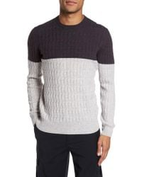 Eleventy | Colorblock Cable Knit Cashmere Jumper | Lyst
