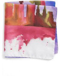 Eton of Sweden - New York Skyline Silk Pocket Square - Lyst
