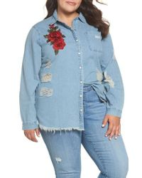 Glamorous - Embroidered Distressed Cotton Denim Shirt - Lyst