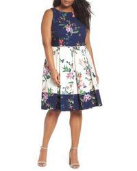 Tahari - Colorblock Floral Crepe Fit & Flare Dress - Lyst
