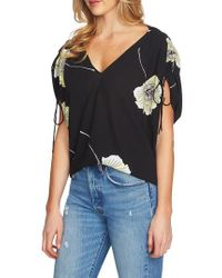 1.STATE - Cinch Sleeve V-neck Blouse - Lyst