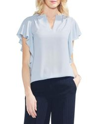 Vince Camuto - Flutter Sleeve Textured Top - Lyst