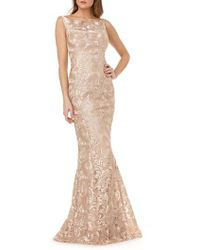 Kay Unger - Sleeveless Metallic Embroidery Mermaid Gown - Lyst