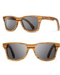 Shwood - 'canby' 48mm Polarized Sunglasses - Zebrawood/ Grey - Lyst