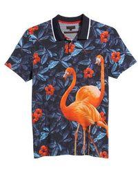Ted Baker - Ballgo Flamingo Print Polo Shirt - Lyst