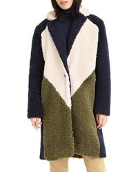 J.Crew - Colorblock Faux Shearling Topcoat - Lyst