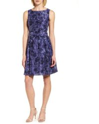 Anne Klein - Rosewater Shadow Fit & Flare Dress - Lyst