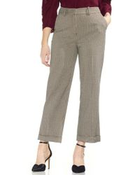 Vince Camuto - Country Houndstooth Check Cuff Crop Pants - Lyst