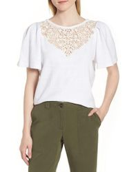 Nordstrom - Lace Yoke Top - Lyst