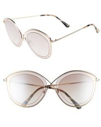 Tom Ford - Sascha 55mm Butterfly Sunglasses - Light Brown/ Brown Mirror - Lyst