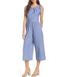 c009225ad89 Lyst - Nordstrom 1901 Pinstripe Tie Back Crop Jumpsuit in Blue