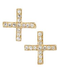 EF Collection - Diamond X Stud Earrings - Lyst