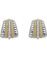 Lagos - 18k Gold And Sterling Silver Diamond Lux Graduated Huggie Hoop Earrings - Lyst