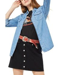 TOPSHOP - Gigi Fitted Denim Western Shirt - Lyst