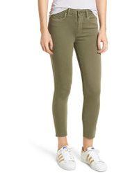 PAIGE - Hoxton Transcend High Waist Crop Skinny Jeans - Lyst