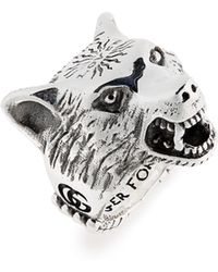 Gucci - Wolf Head Sterling Silver Ring - Lyst