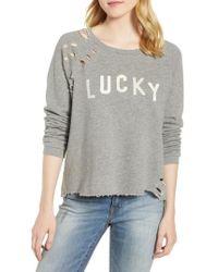 Lucky Brand - Deconstructed Sweatshirt - Lyst