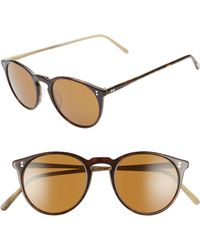 92ea01d46a1 Oliver Peoples - O malley 48mm Round Sunglasses - Horn Brown - Lyst