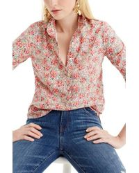 J.Crew | J.crew Classic Popover Blouse In Liberty Swirling Petal Print | Lyst