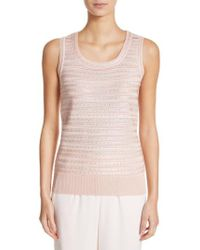 St. John - Welted Sequin Knit Shell - Lyst