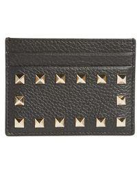 Valentino | Rockstud Leather Card Holder | Lyst