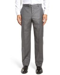 Hickey Freeman - Flat Front Solid Wool Trousers - Lyst