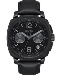 Nixon | Charger Chronograph Leather Strap Watch | Lyst