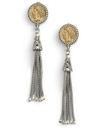 Konstantino - Coin Tassel Drop Earrings - Lyst