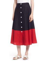 Nordstrom 1901 Colorblock Linen Blend Skirt