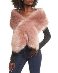 Sole Society - Oversize Faux Fur Wrap - Lyst