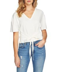 1.STATE   Tie Front V-neck Tee   Lyst