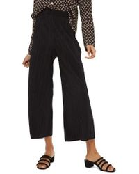 TOPSHOP - Track Band Plisse Wide Leg Trousers - Lyst