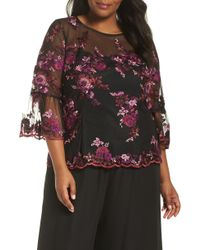 Alex Evenings - Three-quarter Sleeve Embroidered Top - Lyst