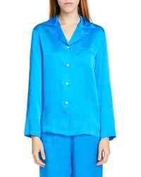 75ae679034482 Lyst - Mansur Gavriel Silk Charmeuse Pajama Shirt - Sun in Yellow