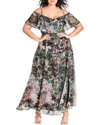 City Chic - Sacred Jungle Cold Shoulder Maxi Dress - Lyst