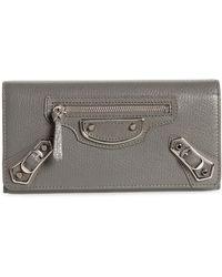 Balenciaga - Balenciaga Metallic Edge Money Leather Wallet - Lyst