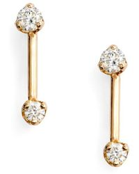 Zoe Chicco - Barbell Diamond Stud Earrings - Lyst